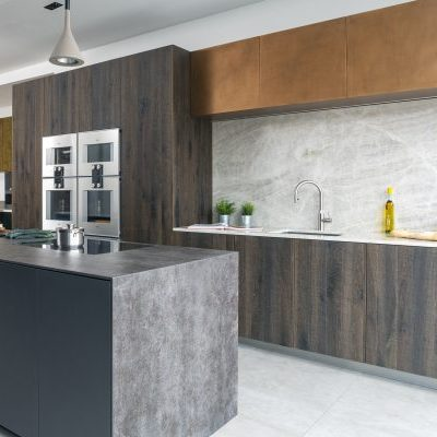 Wood and Copper Bronze Modern Kitchen