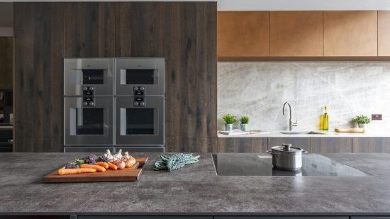 Wood and Copper Bronze Modern Kitchen Showroom