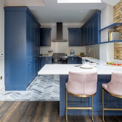 Blue Kitchen Joinery with Gold Brass Handles