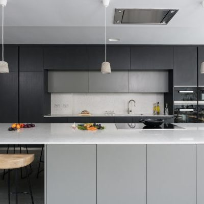 Grey and Oak Bespoke Kitchen Design